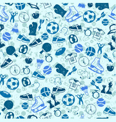 sketch blue sport seamless pattern vector image