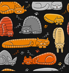 Sleeping cats seamless pattern for your design vector