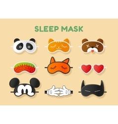 Sleeping masks set face animals heart fruit vector