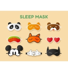 Sleeping masks set Face of animals heart fruit vector