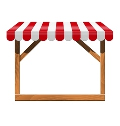 Store front with red awning and wooden rack vector