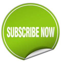 Subscribe now round green sticker isolated on vector
