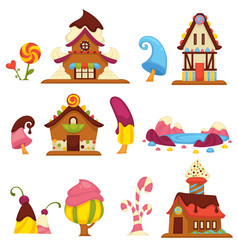 Sweet candy houses and trees cartoon icons vector