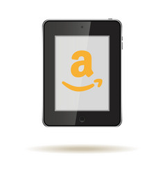 Tablet in ipad style black color with social vector