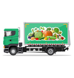 truck car full vegetables products vector image