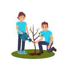 Two smiling volunteers planting tree man holding vector