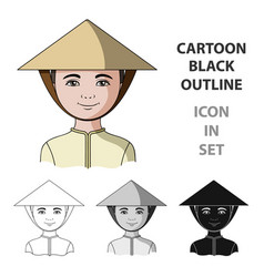 vietnamesehuman race single icon in cartoon style vector image
