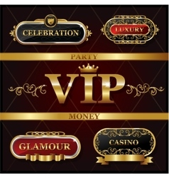 Vintage golden VIP and luxury banner sign vector