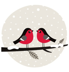 Winter birds sitting on the branch vector image