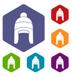 Winter hat icons set vector