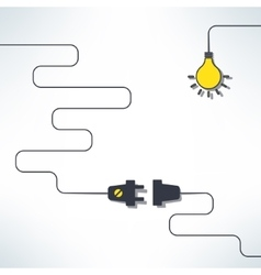 wire plug and socket with light bulb vector image