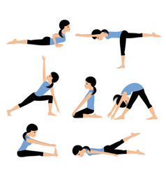 young woman practices yoga set asanas vector image