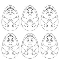 Doll matreshka contours set vector image