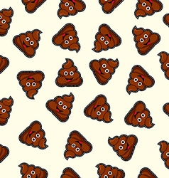 seamless background with cute poo cartoon vector image