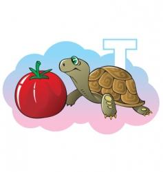 children alphabet letter t vector image vector image