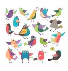 Cute cartoon birds vector image