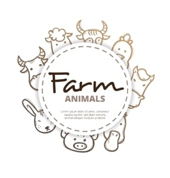 farm animals icons circle composition vector image