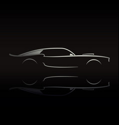 muscle car silhouette on black background vector image vector image