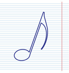 music note sign navy line icon on vector image