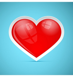 Red 3d Retro Heart on Blue Background vector image vector image