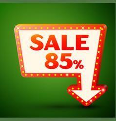 Retro billboard with sale 85 percent discounts vector