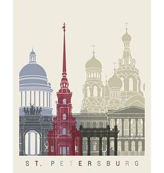 St Petersburg skyline poster vector image