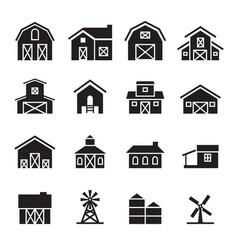 barn farm building icon set vector image vector image
