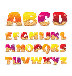 coated wafers sweet alphabet letters set vector image vector image