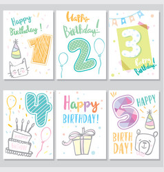 set happy birthday baby vector image