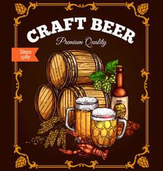 craft beer pub bar retro poster vector image vector image