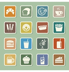 Fast Food sticker icon set vector image vector image