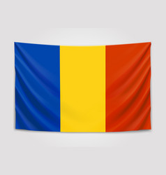 hanging flag of romania romania national flag vector image vector image