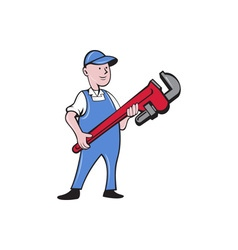 Mechanic Cradling Pipe Wrench Cartoon vector image vector image