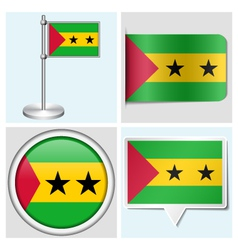 Sao Tome and Principe flag - sticker button vector image vector image