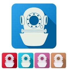 Set Flat icons of Underwater diving helmet vector image