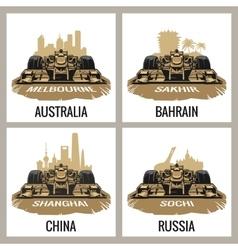 Set vintage poster Grand Prix Melbourne vector image vector image