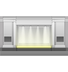 Shop Building with Showcase Backlight Isolated vector image vector image