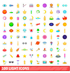 100 light icons set cartoon style vector image