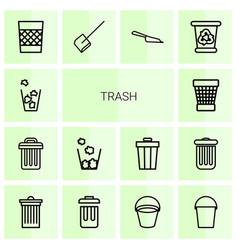 14 trash icons vector image
