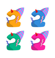 2 year birthday candle flat design with different vector image