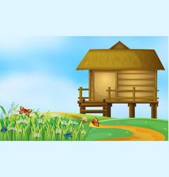 A hut in the nature vector