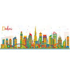 Abstract dubai uae city skyline with color vector