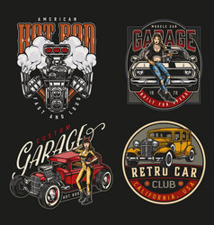 american custom cars colorful vintage labels vector image