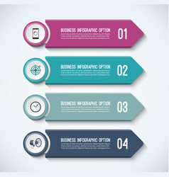 arrow infographic options template with 4 steps vector image