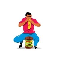 Athlete on fast food eating cartoon vector