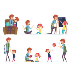babysitters nanny playing with kids preschool vector image