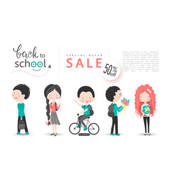 back to school sale background with vector image