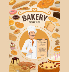 Bakery shop menu baker and pastry food vector