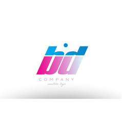 Bd b d alphabet letter combination pink blue bold vector