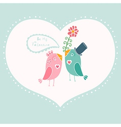 Beautiful birds in love of cartoon birds on branch vector